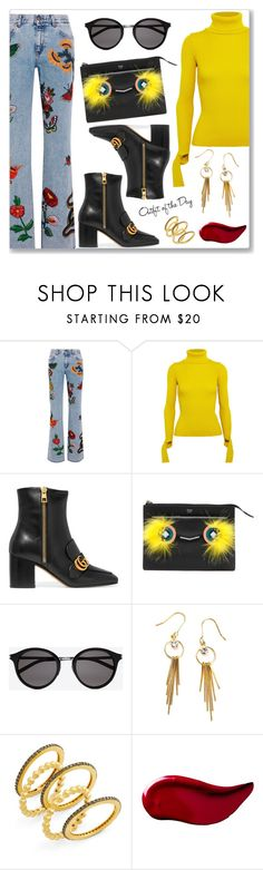 """""""Outfit of the Day"""" by dressedbyrose ❤ liked on Polyvore featuring Gucci, Jacquemus, Fendi, Yves Saint Laurent, Freida Rothman, Kat Von D, Petit Bateau, StreetStyle, ootd and polyvoreeditorial"""