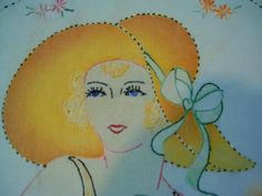 Vintage Vogart Style Hand Embroidered Tinted Big Hat Lady Pillow Top Quilt Block