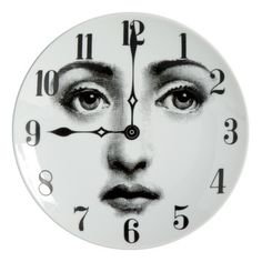 Shop Fornasetti Plate In White from stores. White china plate from Fornasetti featuring a contrasting grey clock face print design. Grey Clocks, Piero Fornasetti, China Plates, White Home Decor, Everyday Objects, Eclectic Style, Whimsical Art, Plates On Wall, White Porcelain