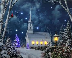 Check out the deal on Lighted Church Scene with Colorful Rice Lights - Lighted Canvas Art - Timer at Battery Operated Candles Religious Christmas Cards, Vintage Christmas Cards, Antique Christmas, Xmas Cards, Vintage Cards, Holiday Cards, Winter Light, Winter Art, Winter Ideas