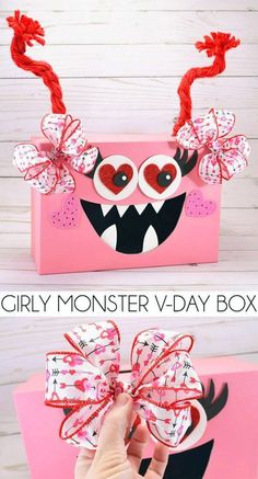 Make a girly monster Valentine's Day Box for the classroom party valentines. day decorations for classroom Girly Monster Valentine's Day Classroom Box Valentine Boxes For School, Valentines For Kids, Valentine Day Crafts, Printable Valentine, Homemade Valentines, Valentine Wreath, Valentine Ideas, Diy Valentine's Box, Valentines Bricolage