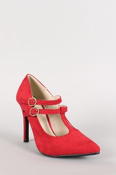 Double T-Strap Pointy Toe Pump