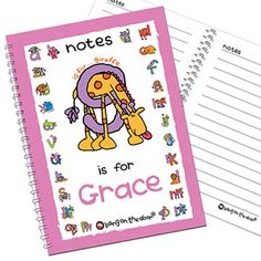 Personalised Bang On The Door Animal Alphabet Girls Notebook  from Personalised Gifts Shop - ONLY £7.99