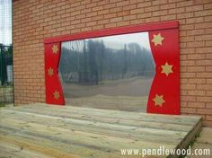 "speelplaats Nice idea - outdoor stage with mirror ("",) Outdoor Stage, Outdoor School, Outdoor Classroom, Outdoor Fun, Outdoor Theatre, Outdoor Learning Spaces, Outdoor Play Areas, Eyfs Outdoor Area Ideas, Natural Playground"