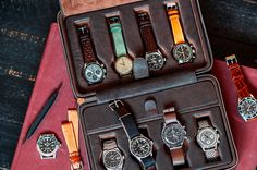 Known for their extensive coverage of everything watch related, Hodinkee now lets you share their passion for watches with their new Travel Case. Able to carry up to eight watches at a time, the leather case features differently shaped imprints on each side so they can fit both watches on a strap or a bracelet.