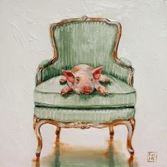 this little piggy stayed home, painting by artist Kimberly Applegate