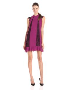 BCBGeneration Women's Cap-Sleeve Pleated Hem A-Line Dress with Lace Detail -- Hurry! Check out this great product : formal dresses