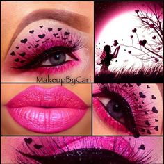 pink heart valentines day eye makeup, so creative