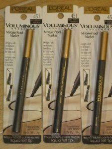 L'Oreal Paris Voluminous Mistake-Proof Marker Eyeliner, Black Brown, 0.06 Ounce by L'Oreal Paris. $3.29. All-day wear up to 8 hours. Suitable for sensitive eyes and contact lens wearers. Removes easily with eye makeup removals. Water-resistant won?t smudge, smear, or fade. Ophthalmologist-tested; Allergy-tested. Design a soft or dramatic liner look with voluminous eyeliner mistake-proof marker.  Exclusive slanted applicator provides a controlled and continuous flow for ultima...