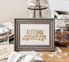 """Autumn Colors Framed Art  An easy way to decorate for fall! Finished image measures 5.5"""" W x 2.6"""" H. The project uses images from the Cricut Four Seasons Home Décor® digital cartridge designed by the Lia Griffith team. - Dezi Moss  DIY, created with a Cricut, make it now, make it yourself"""