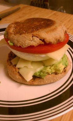slimming breakfast sandwich: whole wheat english muffin, poached egg ...
