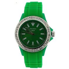 Fahrenheit Analogue Ladies - Girls Stone Set Bezel Green Silicone Strap Watch