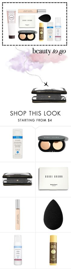 """""""Beauty by air"""" by stella-lam ❤ liked on Polyvore featuring beauty, REN, Bobbi Brown Cosmetics, Anya Hindmarch, Ralph Lauren, beautyblender, Sun Bum and travelbeauty"""