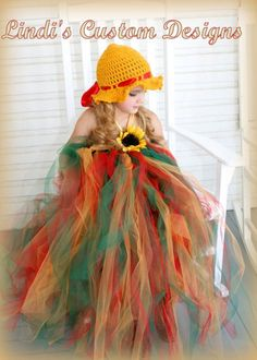 Sunflower Late Summer, Fall, Autumn Tulle Tutu Dress & Hand Crochet Bonnet Hat up to Girls Size 8. $89.00, via Etsy.