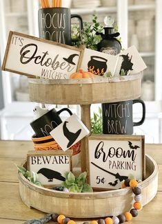 These cute 3d Witch themed signs are a perfect addition to your farmhouse and Rae Dunn fall/ Halloween Decor They look great on Tiered trays, shelves, hutches and by themselves. These signs are 3D. Meaning the Wood cut outs are raised. Made in my home and hand painted by me. These are not framed!! October witches 4x7) Beware (3.5x4.5) Coffee 4x10 3 small blocks 2.5x3.5 Broom parking 6x6