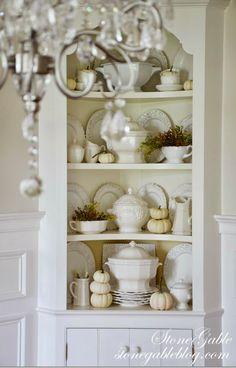 StoneGable: Fall Hutch - White Pumpkins and Soup Tureens Corner China Cabinets, Corner Hutch, Corner Cupboard, White Corner Cabinet, White Hutch, Corner Shelves, Kitchen Shelves, Kitchen Cabinets, Dining Room Corner