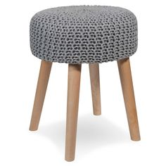 BLUMBERG wooden stool with light grey knitted fabric