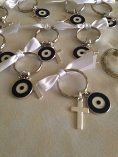 Martyrika -Witness Pins - Martyrika Key chain Key Ring size Cross Charms Mati These Martyrika come in a cute paper box. Martyrika are a necessary accessorys for the Greek Orthodox baptism Ceremony. Baptism Favors, Baby Shower Favors, First Communion Party, Birthday Favors, Key Rings, Wedding Favors, Just For You, Drop Earrings, Jewels