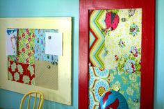 cover dry erase boards in fabric and frame out the metal frames with painted wood ones and hang in the bedroom area