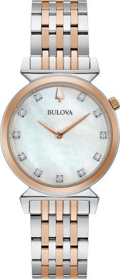 Bulova Watch Regatta Ladies #add-content #allow-discount-yes #basel-20 #bezel-fixed #bracelet-strap-gold-pvd #brand-bulova #case-depth-5-5mm #case-material-steel #case-width-30mm #delivery-timescale-call-us #dial-colour-white #fashion #gender-ladies #movement-quartz-battery #new-product-yes #official-stockist-for-bulova-watches #packaging-bulova-watch-packaging #sale-item-no #style-dress #subcat-regatta #su Stainless Steel Bracelet, Stainless Steel Case, Bulova Watches, Quartz Watch, Gold Watch, Bracelet Watch, Bracelets, Jewelry, Rose Gold
