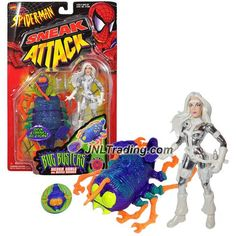 ToyBiz  Year 1998 Marvel Comics Spider-Man Sneak Attack Bug Busters 5 Inch Tall Figure - SILVER SABLE with Gun, Knife, Beetle Basher and Sticker