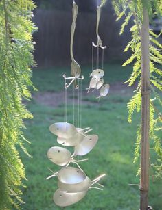 XXL Spoon Fish Windchimes upcycled from silver by NevaStarr