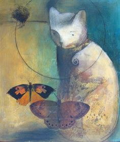 Seth Fitts--my 2 faves: cats and butterflies! Cat Drawing, Painting & Drawing, Photographie Street Art, Maurice Careme, Street Art Photography, Art Et Illustration, Pretty Cats, Fantastic Art, Pics Art
