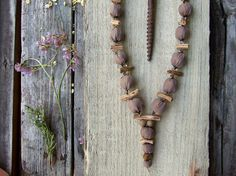 Long necklace with beige silk fabric beads Nexus by TextileBijou