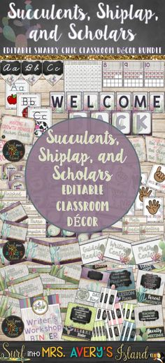 This succulent themed classroom decor bundle is guaranteed to keep you ON POINT as you gear up to head back to school.  This decor bundle is FULL of shabby chic editable templates to help teachers stay organized throughout the school year.  Click the preview to take a look at the countless classroom management tools, binder covers, ABC banners, calendar, Growth Mindset anchor charts, and SO much more!
