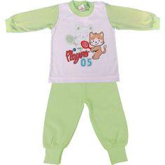 Pijama Infantil Longo em Meia Malha com Botão no Ombro