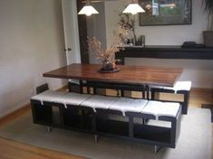 IKEA Hackers: Lack shelving unit as dining benches - This seems like a good way to make a window bench too. And I'm always looking for an excuse for an IKEA trip. Ikea Hackers, Interior Ikea, Interior Design, Banco Ikea, Ikea Lack Shelves, Lack Shelf, Book Shelves, Dining Room Bench Seating, Table Bench