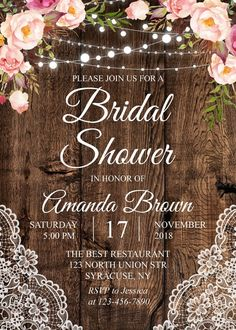 bridal shower decorations Rustic Wedding Shower Invitation, Bridal Shower, Couples Shower Invitation, Wedding Celebration, Floral Invitation ANY EVENT - 1727 ----------------- Bridal Shower Planning, Rustic Bridal Shower Invitations, Couples Shower Invitations, Bridal Shower Decorations, Bridal Shower Favors, Wedding Invitations, Wedding Wording, Bridal Showers, Shower Centerpieces
