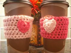 Valentine's Coffee Cup Cozy to fit TakeOut by LoopyChicCrochet, $10.00 for a set of 2.  Check out my different colors!