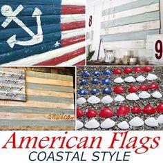 Make an American Flag Coastal Style. Ideas and Tutorials on Completely Coastal. #patriotic #americanflag #4thofjuly