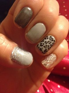 Grey Gel nails with glitter and leapard