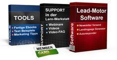 Der Lead-Motor beinhaltet eine E-Mail-Marketing-Software, mit vorgefertigten Landingpages & Freebie-E-Books zum Listenaufbau sowie fertigen Newsletter-Designs.