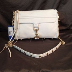 NWT REBECCA MINKOFF FULL SIZE MAC CLUTCH HANDBAG WHITE LEATHER BAG MSRP $295 #REBECCAMINKOFF #Clutch