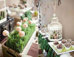garden theme Bridal Shower -  garden theme sweets table