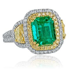 0266efc4b8f7e2 GIA Certified 3.81 Ct Emerald Diamond Ring, Colombian Emerald Octagonal Cut  Half Moon Side Diamond Engagement Ring, Halo Ring,18k White Gold