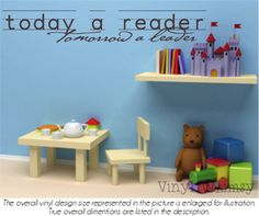 Vinyl Wall Art - Quote - Today A Reader Tomorrow A Leader - Vinyl Lettering - Decal - MVDCT031 via Etsy