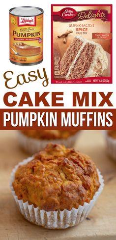 2 Ingredient Pumpkin Muffins, 2 Ingredient Cakes, Pumpkin Muffin Recipes, Easy Pumpkin Desserts, Spice Cake Mix Recipes, Spice Cake Recipes, Dessert Recipes, Cookbook Recipes, Bread Recipes