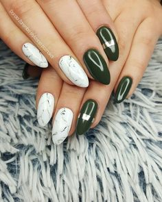 Khaki, white marble  Glamour nails, style nails, design nails, white nails, marble nails