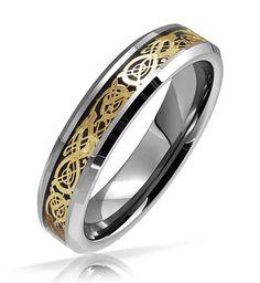 6MM Yellow Gold Celtic Dragon Tungsten Carbide Men's Ring Wedding Band Ring M69