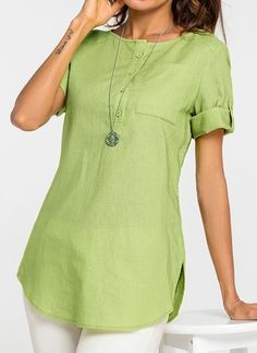 Latest fashion trends in women's Blouses. Shop online for fashionable ladies' Blouses at Floryday - your favourite high street store.Shop Floryday for affordable Blouses. Floryday offers latest ladies' Blouses collections to fit every occasion. Short Kurti Designs, Simple Kurti Designs, Kurta Designs Women, Kurti Sleeves Design, Kurta Neck Design, Kurti With Jeans, Blouses For Women, Ladies Blouses, Women's Blouses