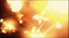 「楽園追放」ここではCGと作画の両方で、爆発シークエンスを楽しむことができる。画面奥では、CGによる爆発があり、手前では橋本作画による手書き爆発が見て取れる。CGは基本的に画の粒子(ピクセルみたいな)が細かいことが、CG爆発に違和感が発生する原因だと思うんだけど、今回は意図的に粒子数を減らしているような気がする。