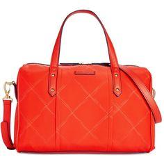 Vera Bradley Preppy Marlo Satchel ($118) ❤ liked on Polyvore featuring bags, handbags, orange, lightweight handbags, vera bradley handbags, vera bradley purses, lightweight purse and red handbags