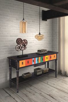 Vidal Multicolor/Distressed Black Console Table  by Zuo Era on @HauteLook