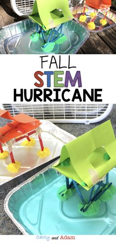 Kids Safety Fall STEM Hurricane Engineering: This activity is perfect to use to teach students about hurricanes and hurricane safety by designing a building that will withstand a hurricane simulation. Aligns with Next Generation Science Standards (NGSS). Weather For Kids, Weather Unit, Weather Science, Rainy Weather, Weather Activities Preschool, Stem Activities, Preschool Art, Stem Science, Science For Kids