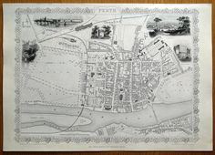 PERTH By John Rapkin Drawn engraved by John Rapkin for The Illustrated Atlas and Modern History of the World by Martin Montgomery Published London