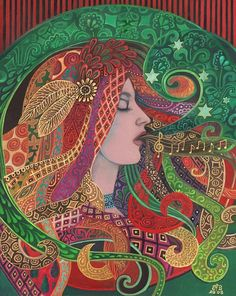 Mezzo Goddess Art Nouveau Pagan Witch Print by EmilyBalivet, $23.00